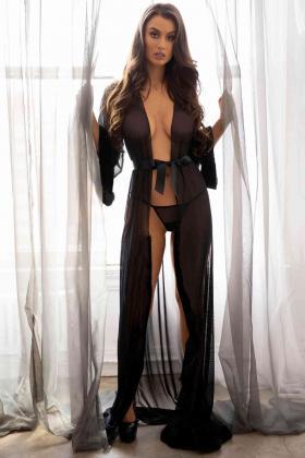 Uzun Tül Sabahlık Gecelik İç Giyim Siyah